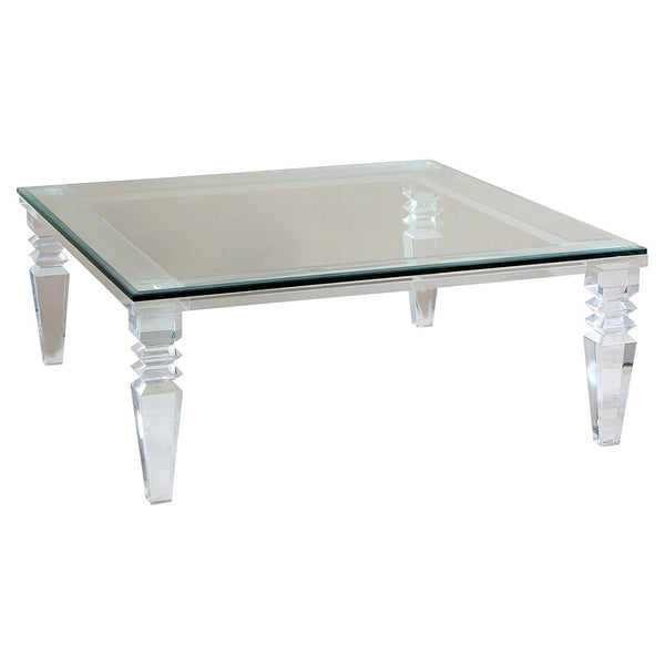 lucite coffee table with carved legs