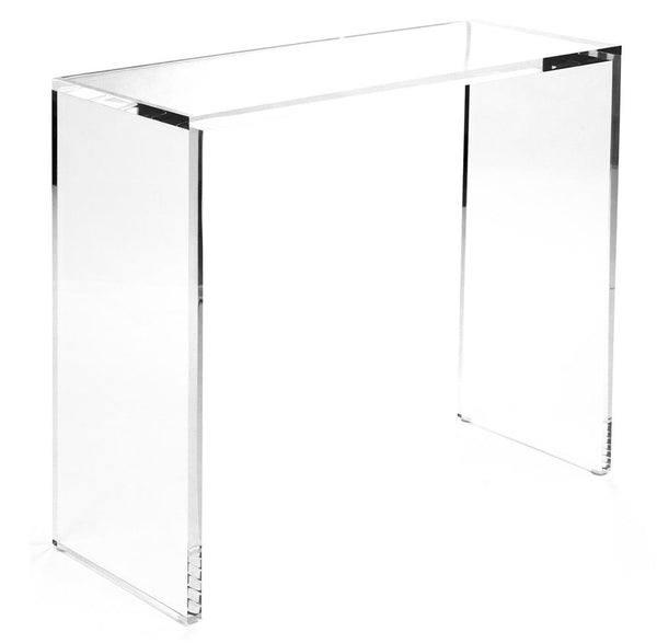 lucite parsons console table