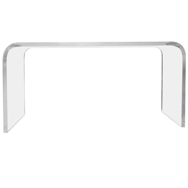 "64"" Waterfall Acrylic Lucite Console Table"