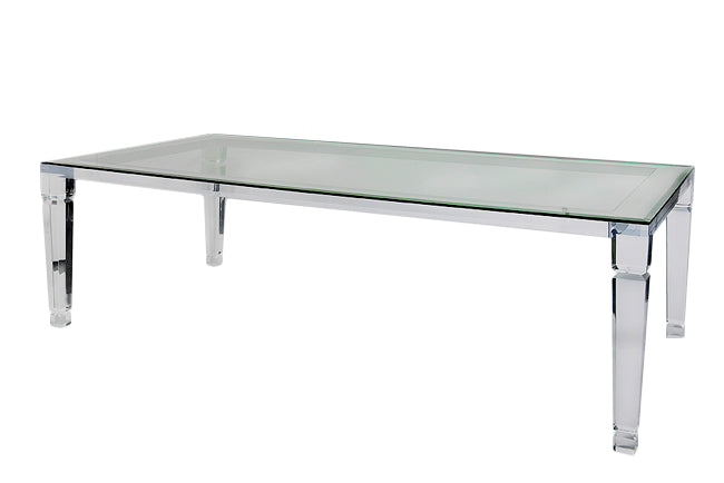 manhattan lucite acrylic dining table with glass top