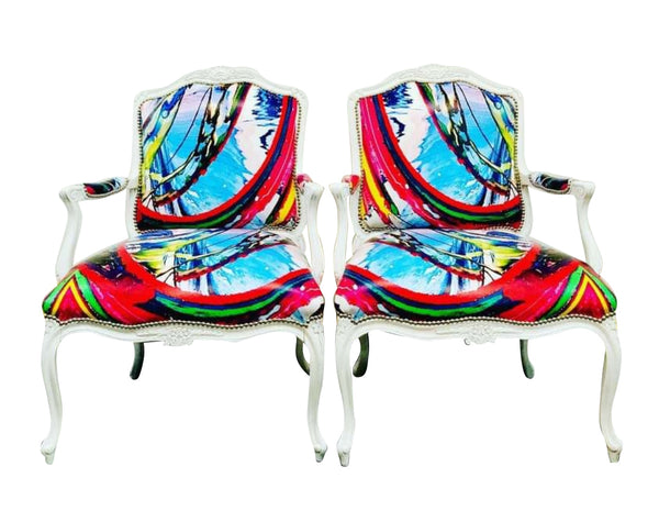 Abstract Art Chairs - Pair