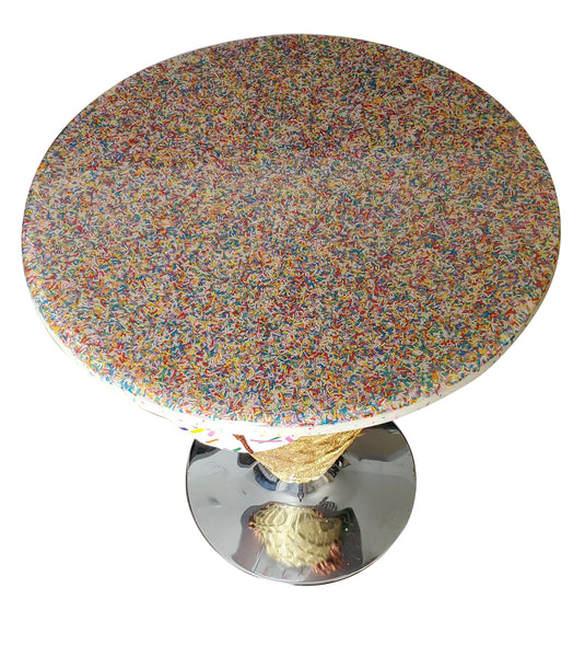 Handpainted Ice Cream Table and Lucite Acrylic Stools