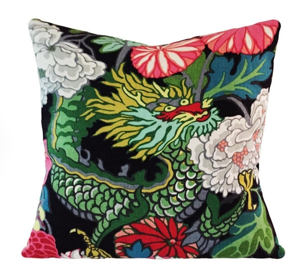 Chian Mai Dragon Throw Pillow - Black