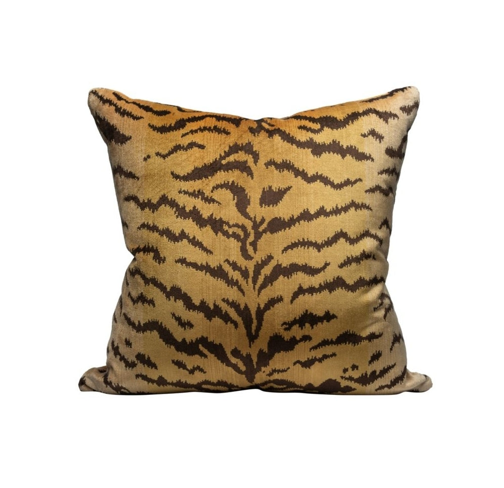 Tigre Pillow - Gold & Brown Velvet