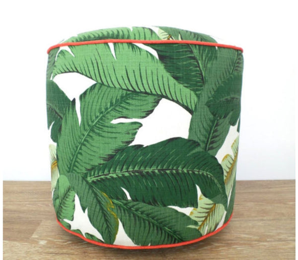 Isla Palm Print Throw Pillow - Green & White Fabric with Coral Piping - Various Sizes