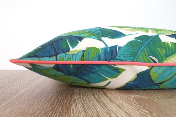 swaying palm print pillow