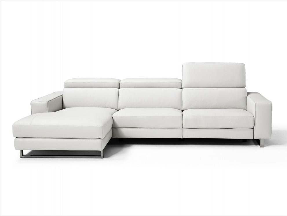 Augusto Italian Leather Sectional -Left Facing Chaise
