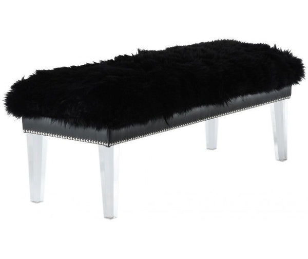 "Sheepskin Bench - 48"" - Black"