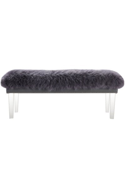"Sheepskin Bench - 48"" - Grey"