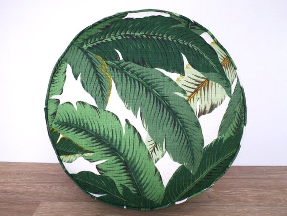 Isla Palm Print Poof Ottoman - Green & White - 16""