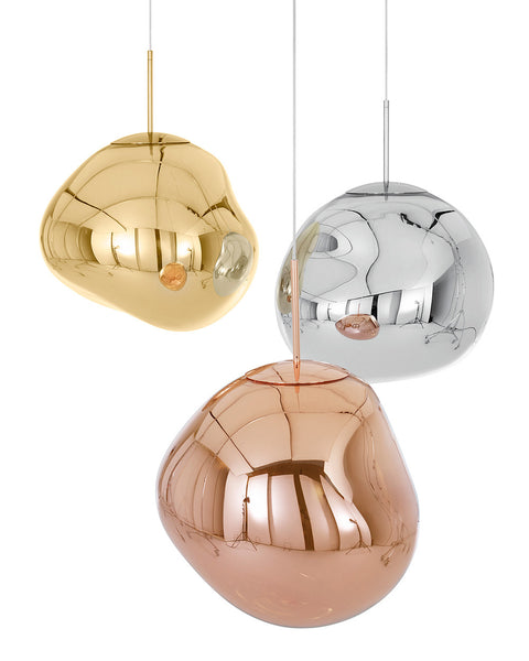 "Tom Dixon Style Melt Pendant - Silver/Gold/Copper - 12"" or 16"""