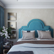 Palm Beacher Sea Blue Velvet Headboard - Full