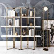 Kupa Bookcase - Marble and Brass Bookshelf