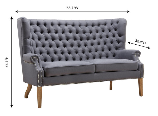 Grey Linen Wing Loveseat