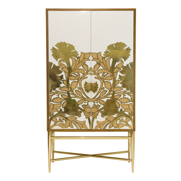 Selamat poppy armoire Rattan and brass scrolled finish at luxe furniture