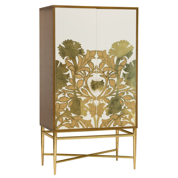 Selamat poppy armoire with Rattan inlaid in brass