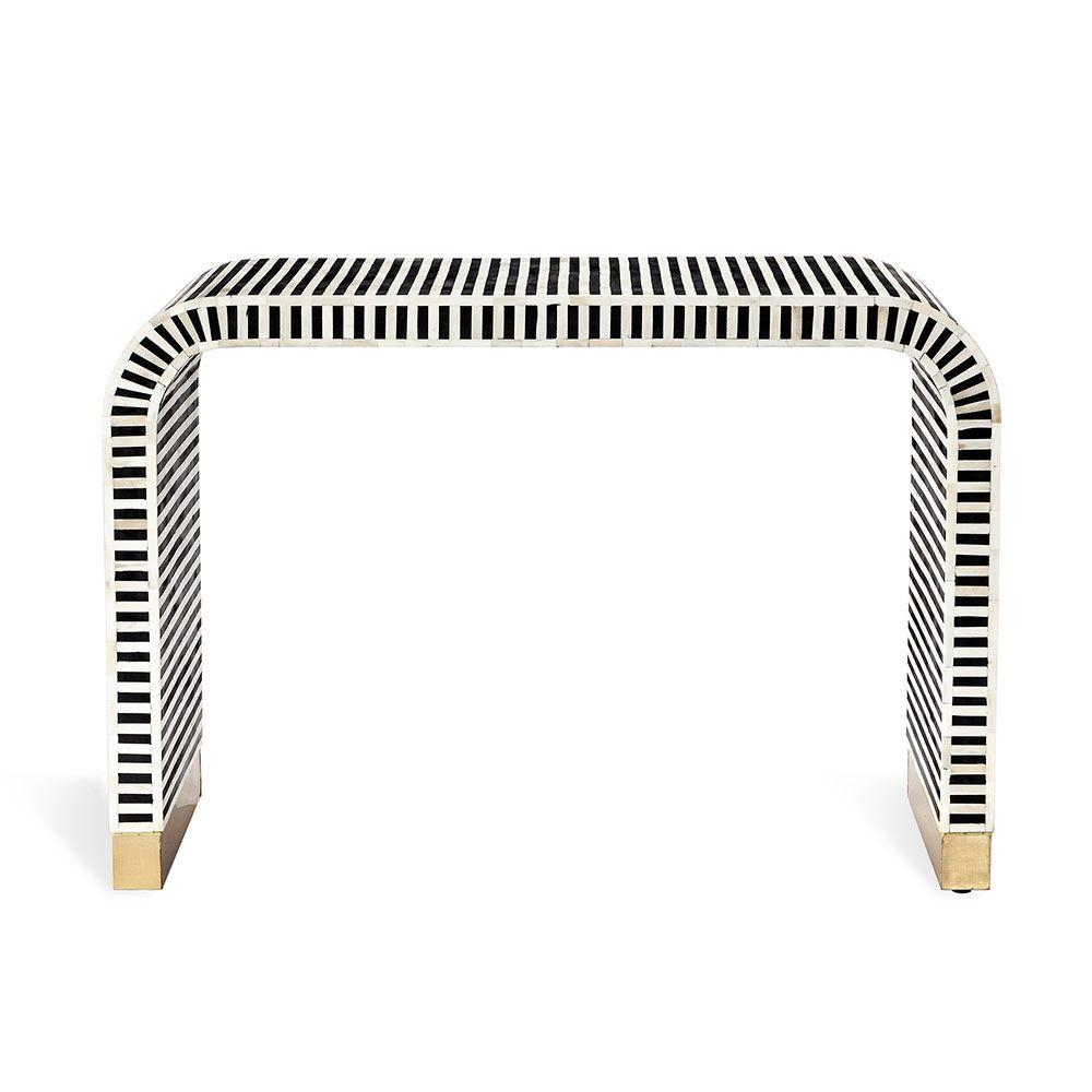 Bone Inlay Waterfall Console Table - Black and White