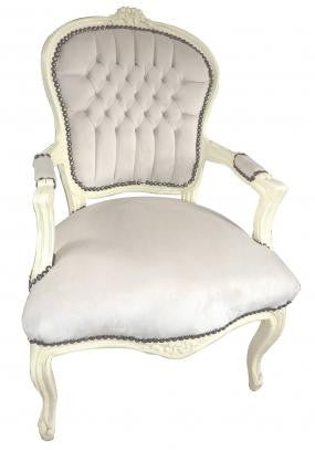 Baroque Armchair - Silver Velvet on White