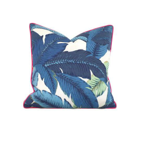 Isla Palm Print Throw Pillow - Blue & White with Pink Piping - Various Sizes