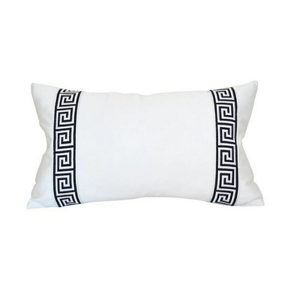 Greek Key Pillow - Black & White
