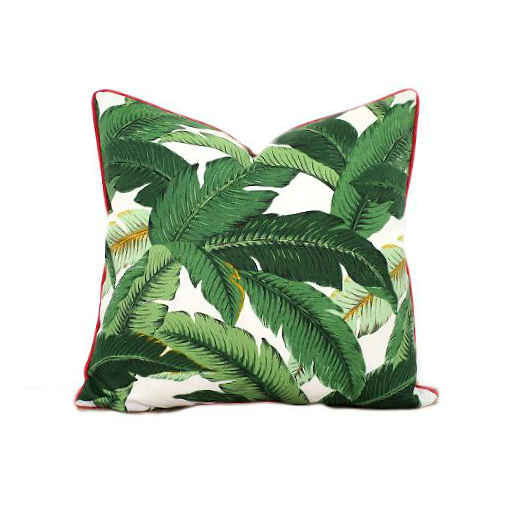 Isla Palm Print Throw Pillow - Green & White Fabric with Pink Piping - Various Sizes