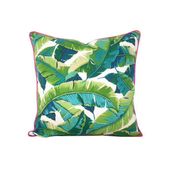 Isla Palm Print Throw Pillow - Turquoise, Green & White Fabric  - Pink Piping - Various Sizes