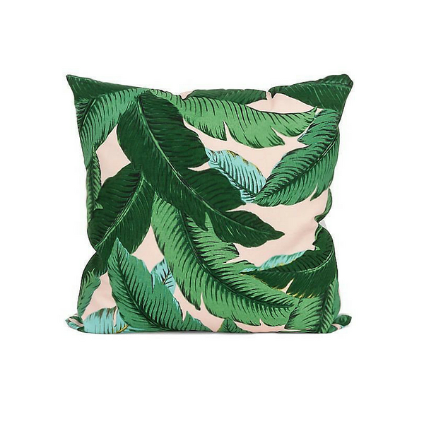 Isla Palm Print Throw Pillow - Green & Pink Fabric  - Pink Piping - Various Sizes
