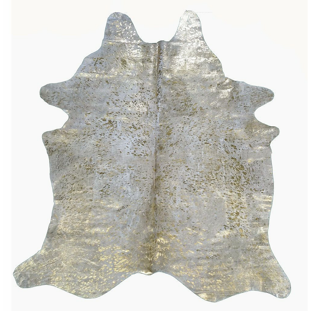 Designer Acid Washed Hide Rug - Metallic Gold on Ivory