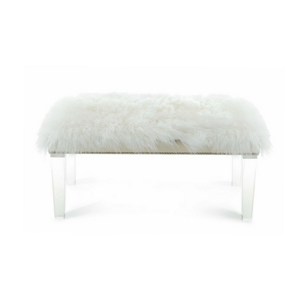 "Mongolian Sheepskin Bench - 48"" - Choice of Color"