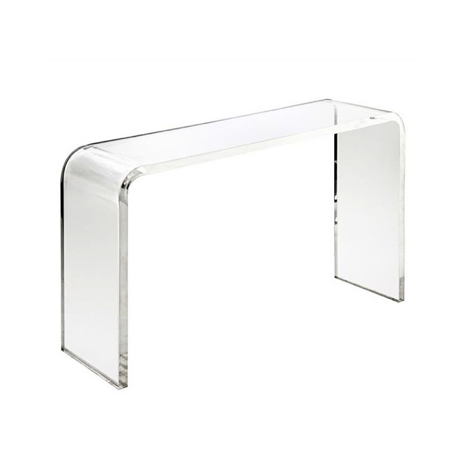 Waterfall Lucite Acrylic Console Table - Choice of Size - Crystal Clear American Lucite