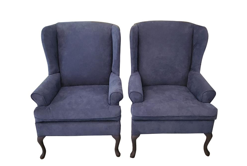 French Louis XV Wing Back Chair - Pair - Blue