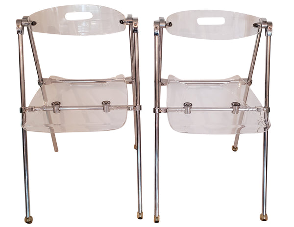 Mid Century Modern Lucite Folding Chairs - Giancarlo Piretti for Castelli - Set of 4