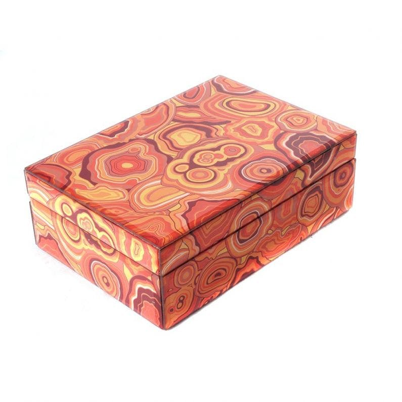 Jacy Orange Malachite Lidded Box