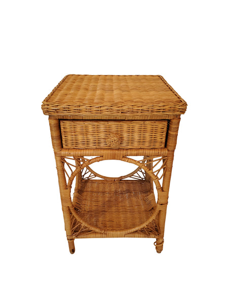 Mid Century Wicker Side Table