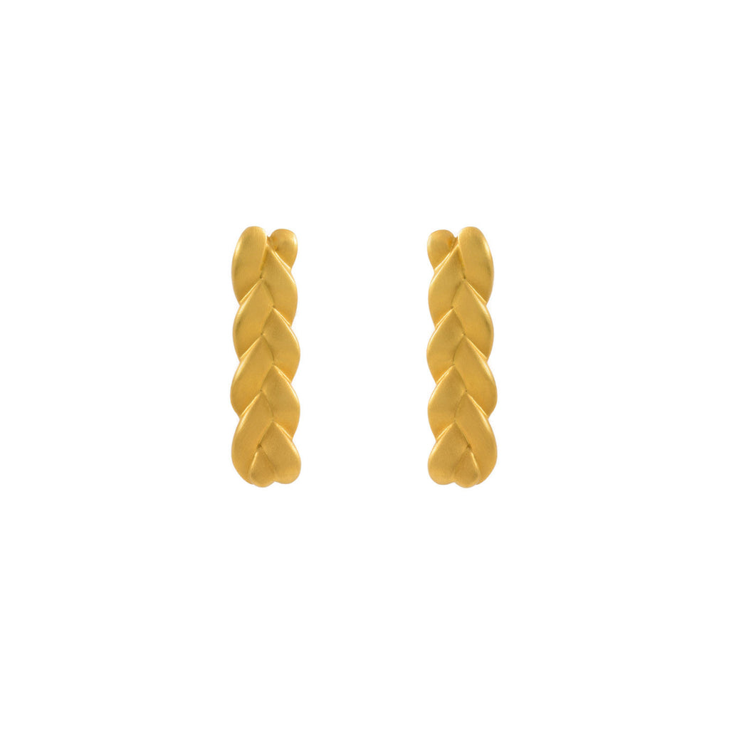 Classic Plait Earrings in 18K Yellow Gold Matte