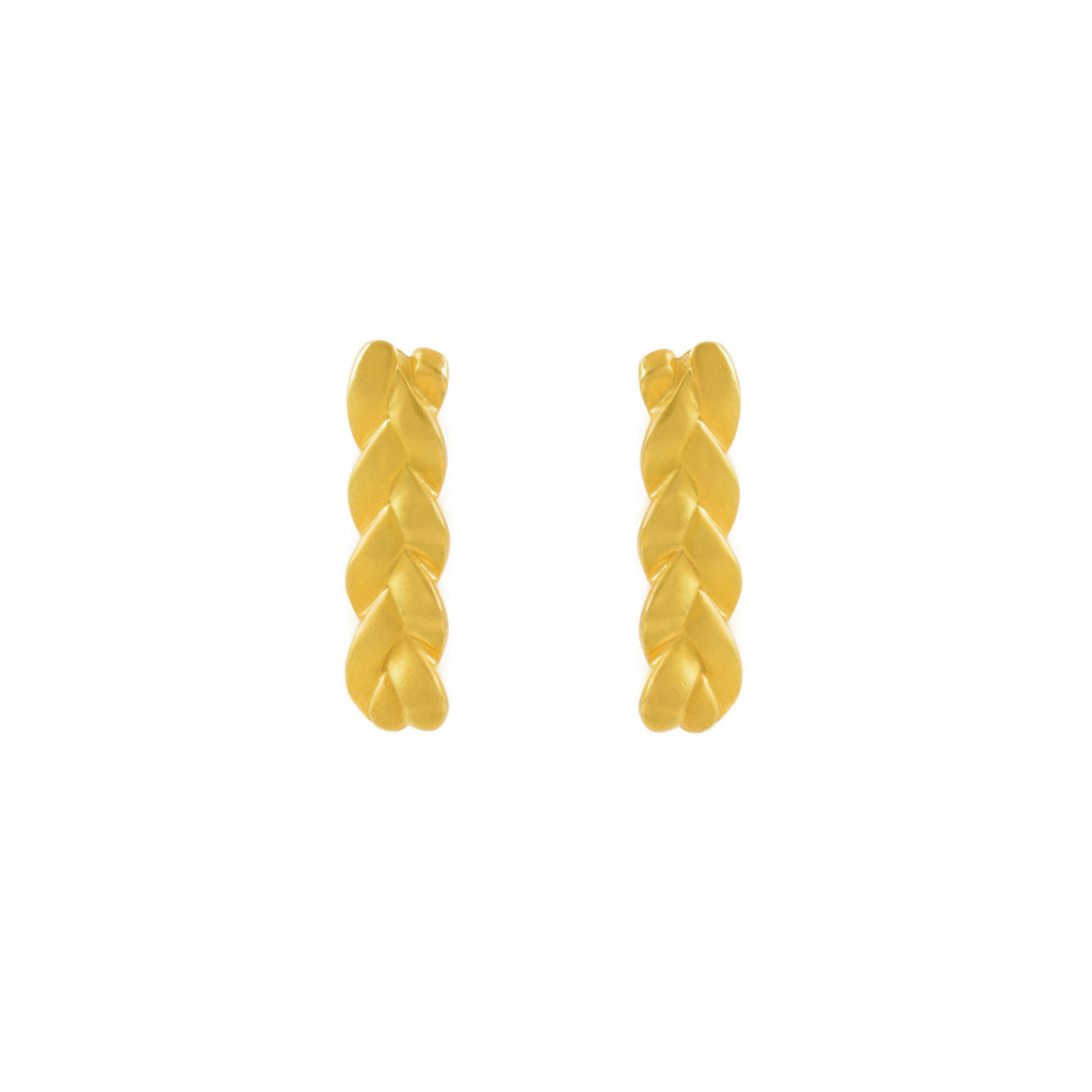 Classic Plait Earrings in 18K Yellow Gold Satin Polish