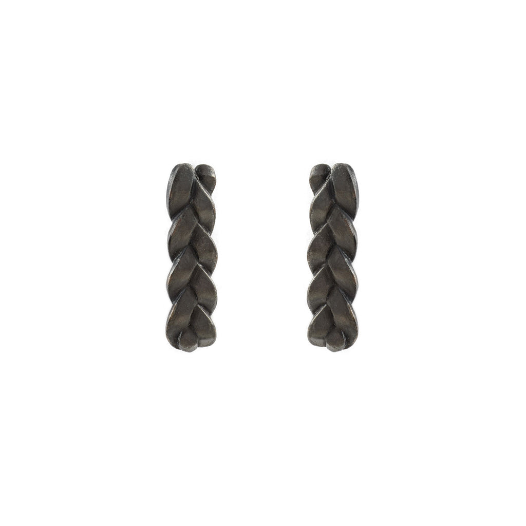 Classic Plait Earrings in Sterling Silver Black Patina