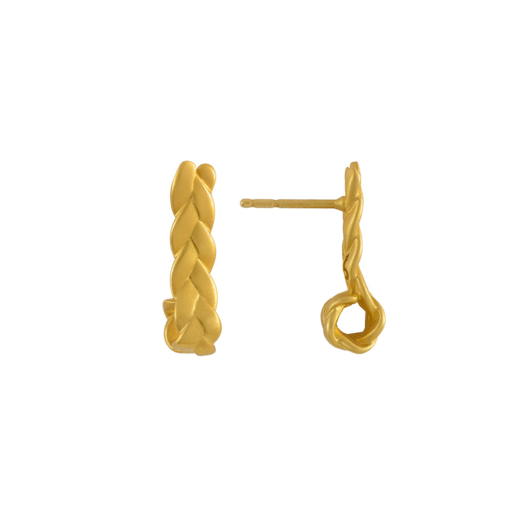 Drop Plait Earrings in 18K Yellow Gold Satin Polish