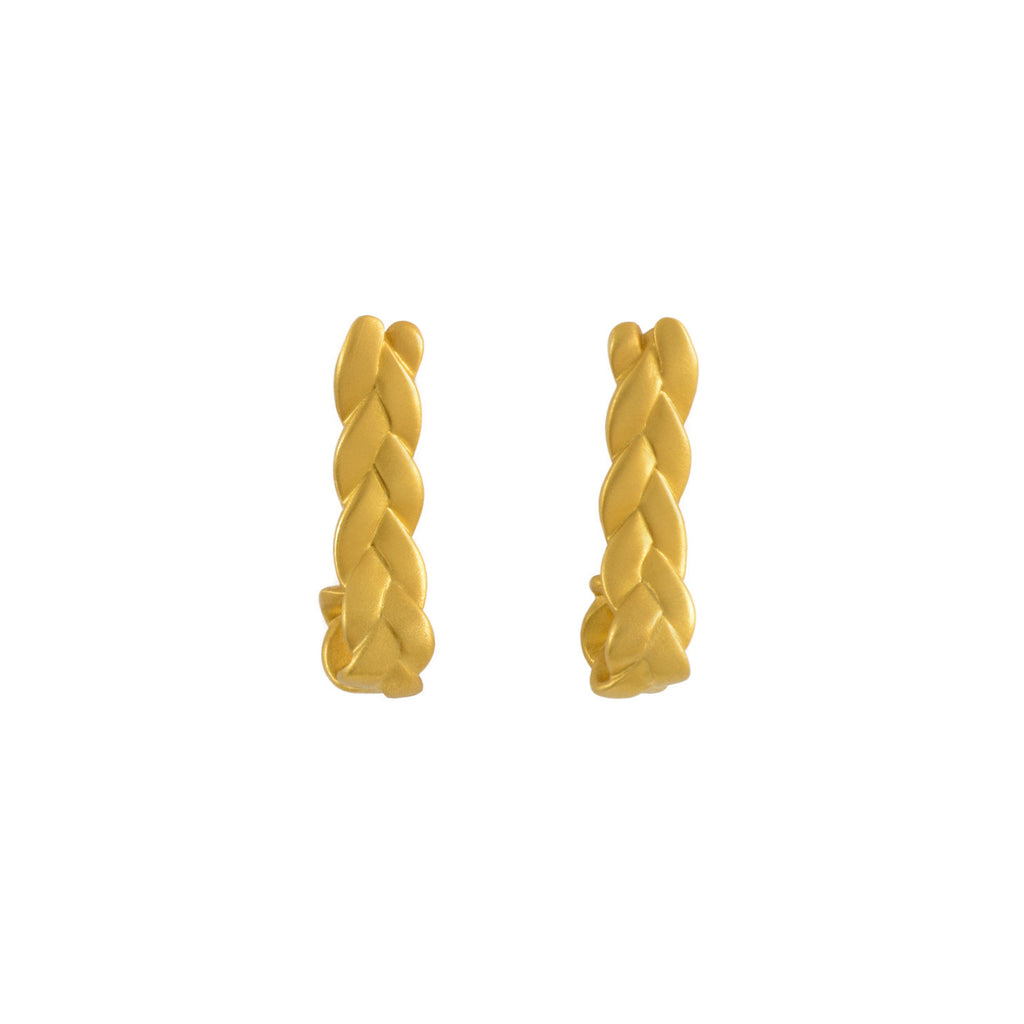 Drop Plait Earrings in 18K Yellow Gold Matte