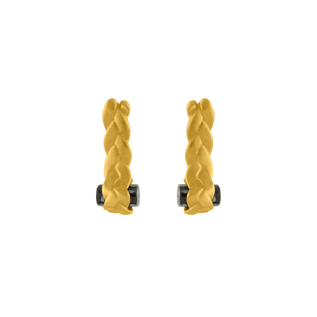 Drop Plait Earrings with Obsidian in 18K Gold Matte