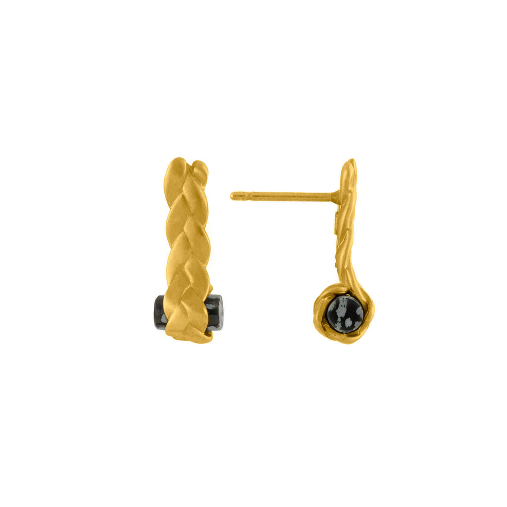 Drop Plait Earrings with Obsidian in 18K Gold Detail