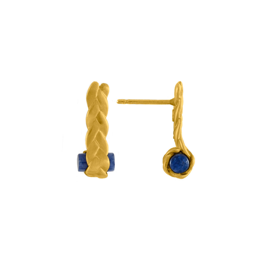 Drop Plait Earrings with Sodalite Detail
