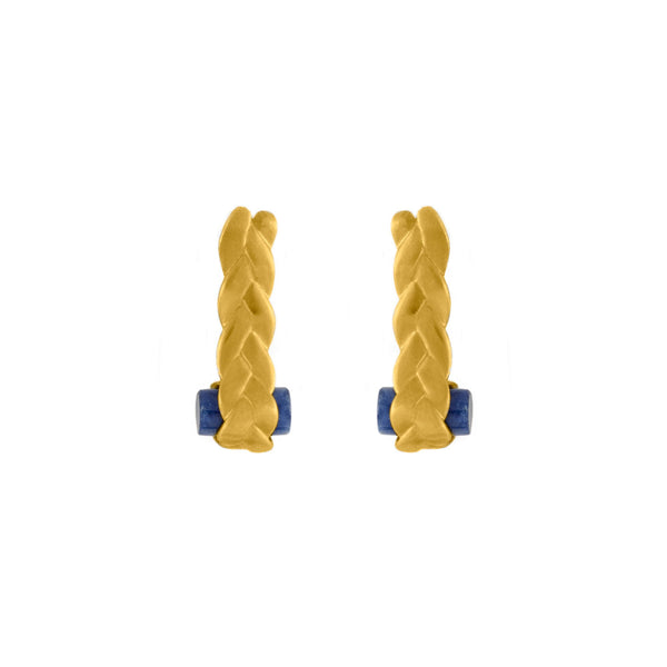 Drop Plait Earrings with Sodalite in 18K Yellow Gold Matte