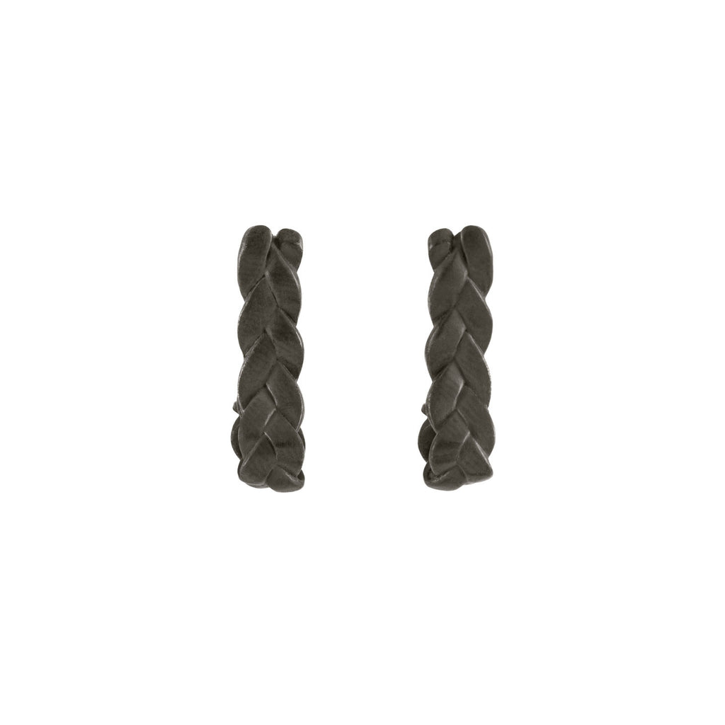 Drop Plait Earrings in Sterling Silver Black Patina