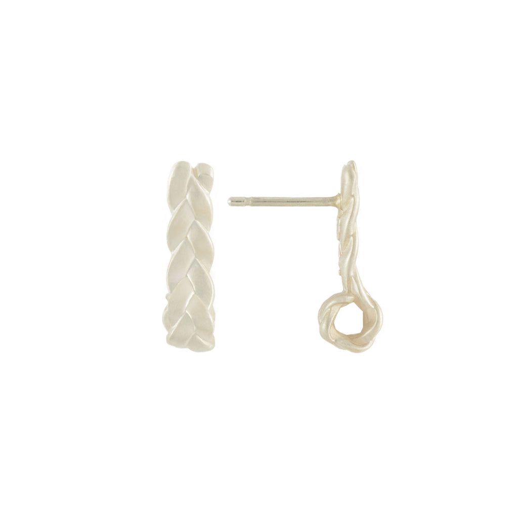Drop Plait Earrings in Sterling Silver Matte Detail