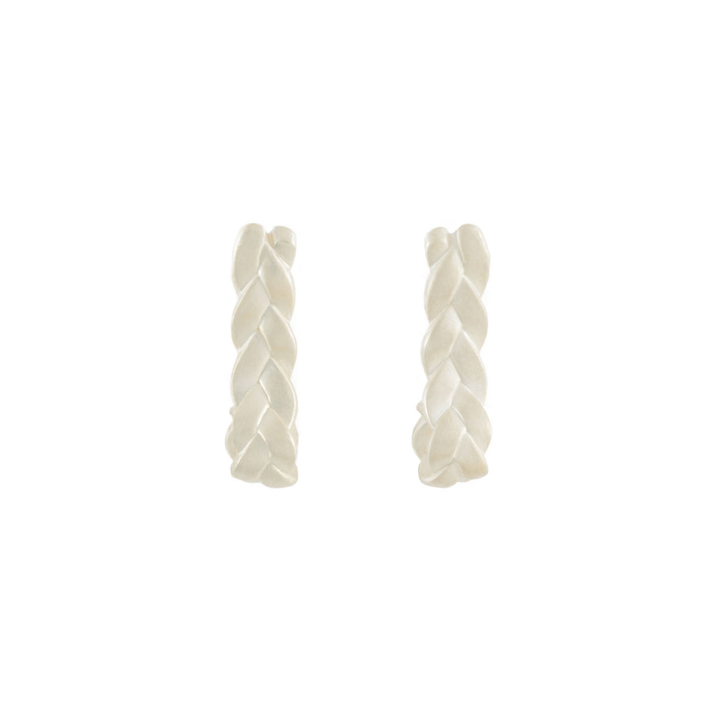 Drop Plait Earrings in Sterling Silver Matte