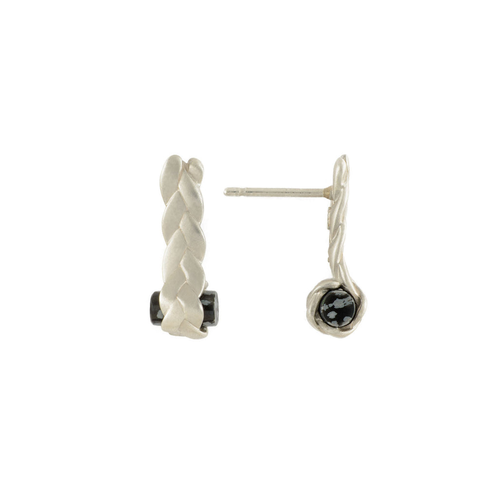 Drop Plait Earrings with Obsidian in Sterling Silver Detail