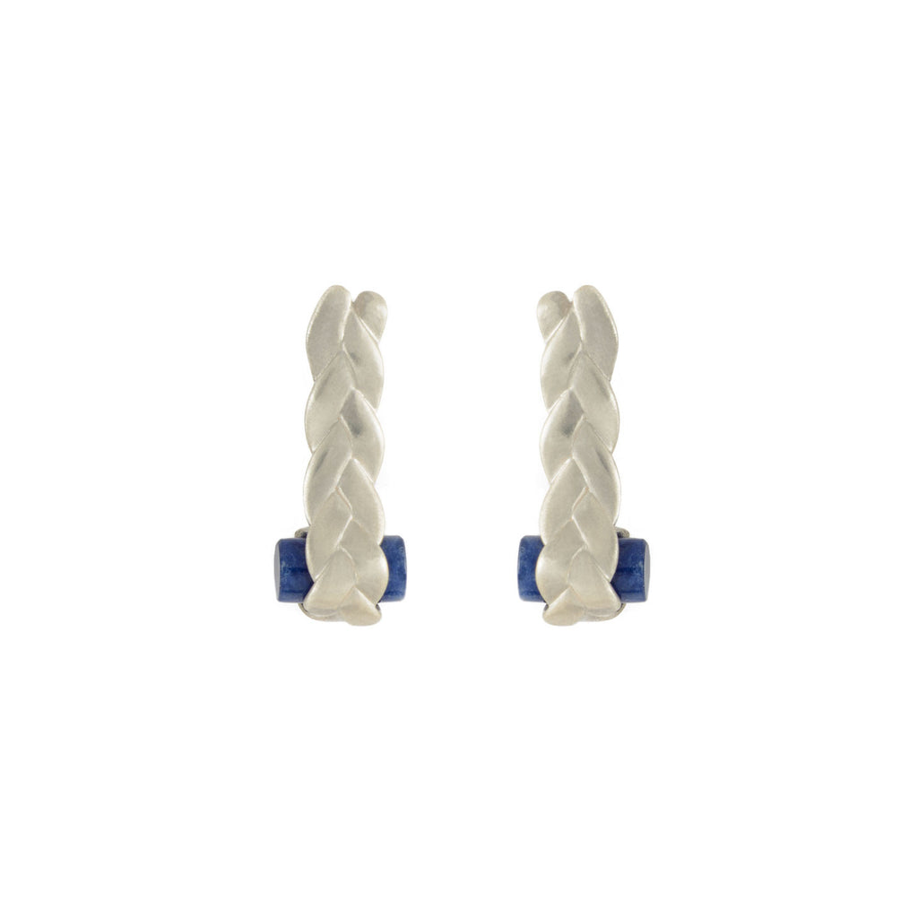 Drop Plait Earrings with Sodalite in Sterling Silver Matte