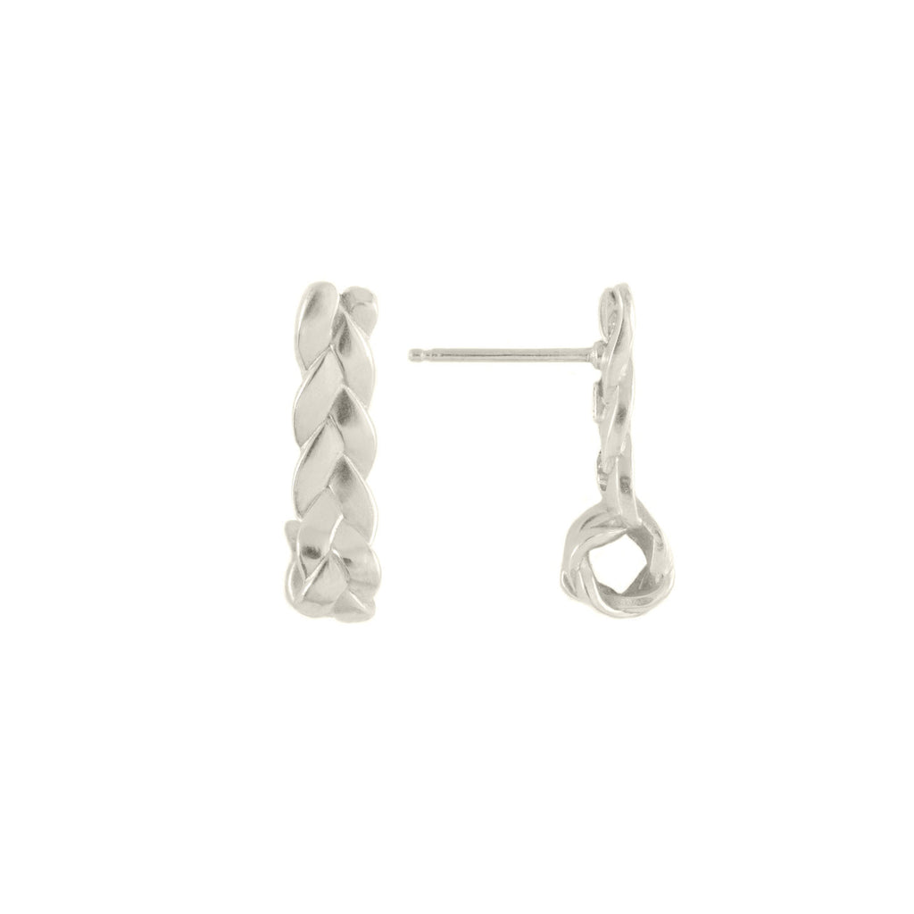 Drop Plait Earrings in Sterling Silver Satin Polish Detail