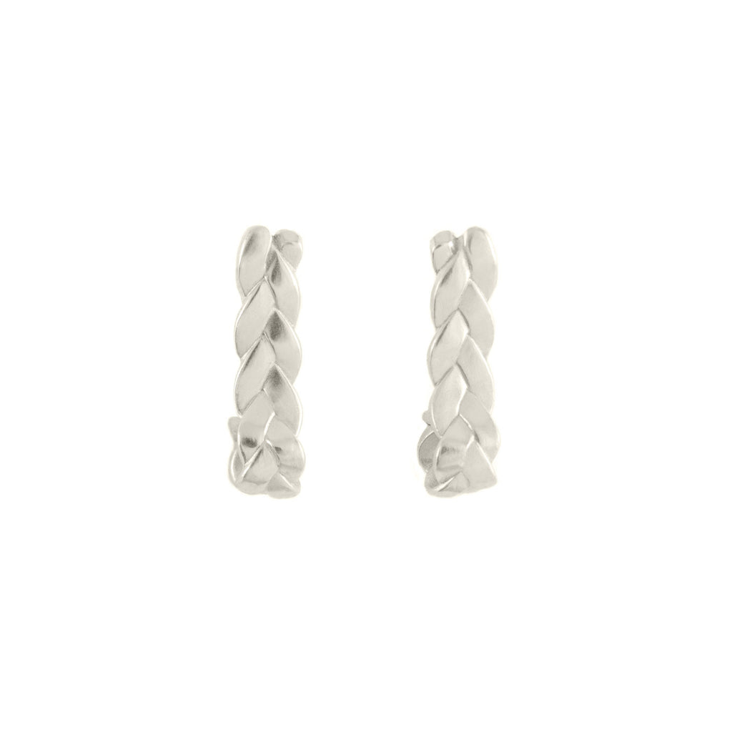 Drop Plait Earrings in Sterling Silver Satin Polish